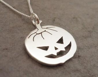 Creepy Halloween Pumpkin Pendant - sterling silver