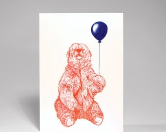 Party Bear - Greetings Card - Happy Red Bear with his Balloon