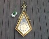 Vintage Wall Clock / Wooden Wall Clock / Hollywood Regency Clock / Antique Wall Clock / Antique Wood Clock