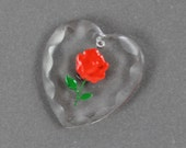 Vintage Western Germany Painted Red Rose and Clear Glass Intaglio Heart Pendant