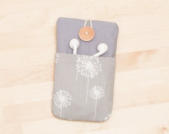 iPhone 6s Plus sleeve / Sony xperia z1 z2 z3 sleeve / nexus 6p, 5x sleeve / iphone 5 sleeve / ipod cover  / iphone 4s case -  grey dandelion