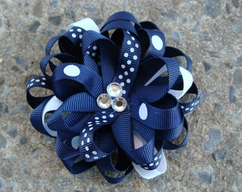 School hair bow School uniform Loopy Flower Hair Bow School hair bow Navy and White Hair Bow
