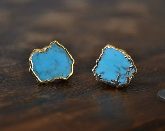 Turquoise Electroformed 24K Gold  Earring Studs