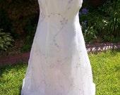 White Prom Dress With Light Purple Flowers