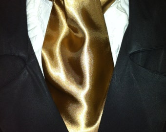 Cravat, In A Golden Brown Fabric or Ascot Mens Victorian Tie.