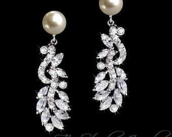 REGINA CZ Pearl Bridal Chandelier Earrings - Cubic Zirconia and Pearl Stud Earings