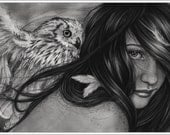 Night Creatures Owl Bird Girl Art Print Glossy Emo Fantasy Girl Zindy Nielsen