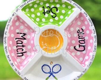 TENNIS platter, tennis team plate, tennis captain gift, hand painted sectional tennis serving platter, tennis lovers gift