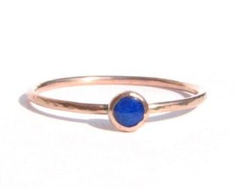SALE! - Tiny Lapis Solid Rose Gold Ring - Stacking Ring - Engagement Ring - Thin Gold Ring - Blue Ring - Lapis Rose Gold - Made To Order.