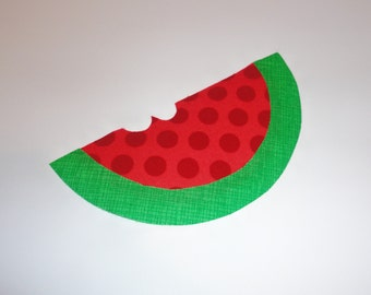 Iron On Fabric Applique Red POLKA Dot Green Plaid WATERMELON SLICE With Bite