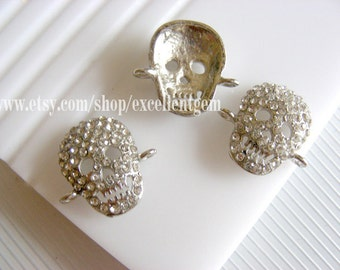 5pcs-- Silver plated with clear Rhinestone Skull Connector,pendant-14*18mm