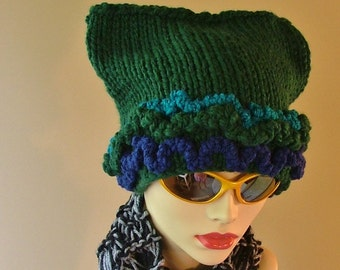 Heidelberg Green Horned Hat with Ruffles