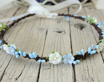 SMURFY Wreath Headpiece, Daisy wreath, Floral fascinator, flower tiara, Whimsical floral hair band - Flower Crown, Smurfs Light Blue Flower