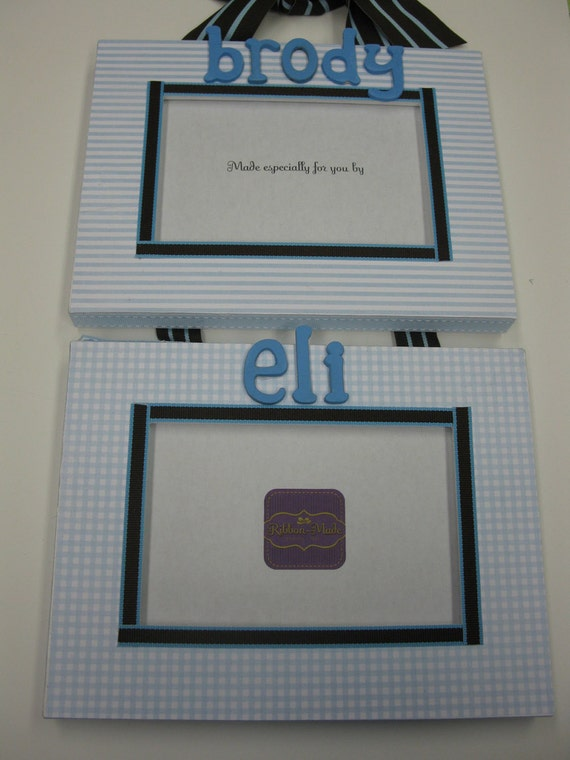 Twin Boy Frame with Names - Gingham and Stripe to match decor colors