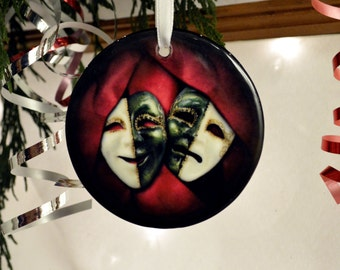 Red Green Comedy Tragedy Masks Theater Drama Thespian Ceramic Hanging Ornament
