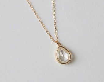 Tear drop necklace.  Clear glass and gold filled bridal necklace.  Bridesmaids necklace.  Wedding jewelry. Bridal jewelry. Everyday necklace