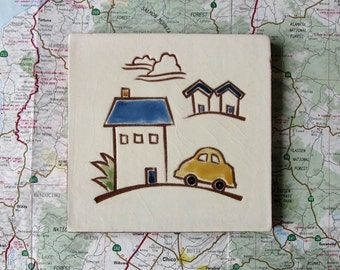 """Yellow VW bug and blue house ceramic tile, coaster or wall hanging 4x4"""""""