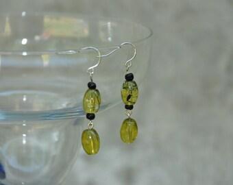 Earrings, Green Acrylic Dangle Earrings  -