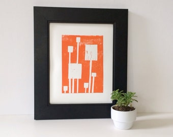 Hand Pulled Modern Linocut PRINT Orange and White Squares Linocut 8x10