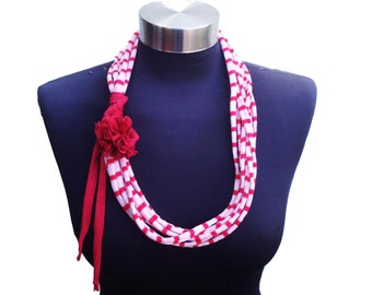 Short summer women loop scarf necklace with red fabric recycle flower-eco friendly jewelry-red white gold strips pattern-textile  necklace