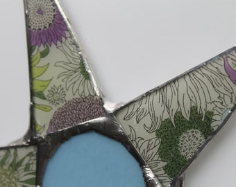 My Mother's Star- 9 inch Liberty of London Fabric on glass, stained glass center