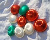 Lee Wards Satin UFO Shape Mid Century Christmas Ornaments Lot of 9 Green White Rusty Orange