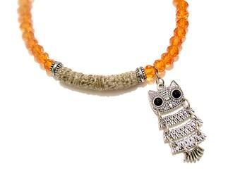 Tropical Orange Anklet, Bohemian Glass Beaded Summer Ankle Bracelet, Owl Charm Foot Jewelry