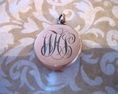 RESERVE FOR Sarah3909 Art Deco Gold Filled Locket w Script Initials Monogram