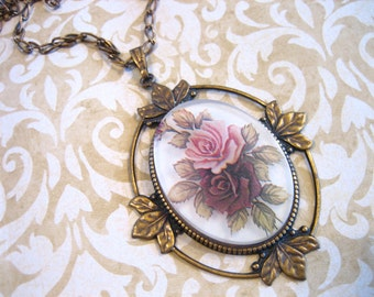 Victorian Revival Large Rose Cameo Necklace