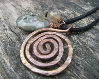 Swirl Necklace Jasper Rutilated Quartz Metalwork Stone Charm Necklace Copper Spiral Necklace