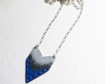 Long blue enamel layering necklace Geometric chevron layer pendant Sterling silver Modern enameled copper art jewelry