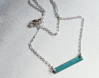Aqua enamel bar necklace Dainty layering choker Simple minimalist jewelry Metallic turquoise green