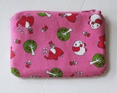 Japanese Kawaii Pink Elephants Zip Pouch - Small Zip Pouch Coin Purse Wallet - Made from Japanese import fabric