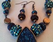 Cobalt Blue Necklace, Blue Druzy Pendant, Druzy Necklace, Cobalt Blue Pendant, Vintage Jewelry, Easter Necklace, Easter Jewelry, Easter Gift