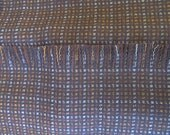 Brown and cream plaid wool scarf, hand fringed, autumn colors