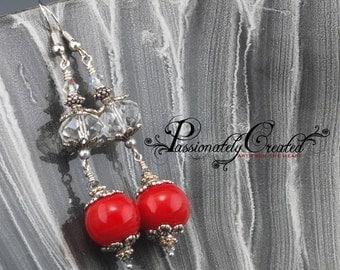 Elegant Cherry Red Handmade Lampwork Earrings