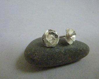 Peony Rose flower stud earrings: Handmade, sterling silver