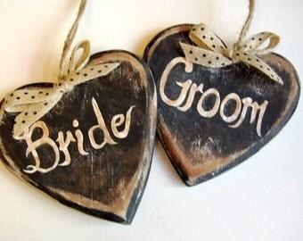 Bride and Groom Wedding Decoration / Bride and Groom Signage / Rustic Wedding