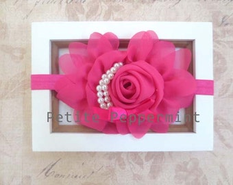 Baby headband Baby Girl Headband Hot Pink Baby Flower Headband