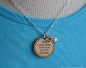 """your words, custom quote necklace --- 1"""" engraved wood charm necklace INK"""