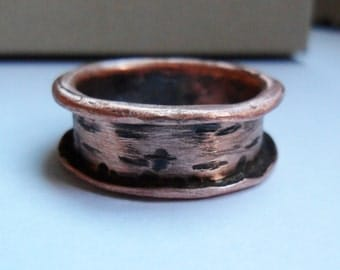 Mens or Womens Flared Copper Ring, Mens copper Jewelry, Womens Copper Jewelry, Copper Band Ring, Wedding Band