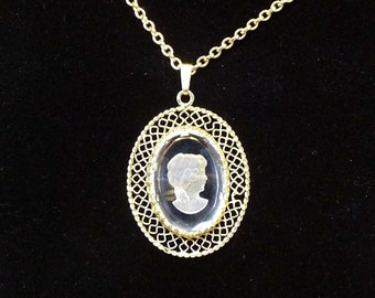 Whiting & Davis Cameo Pendant and Chain Necklace - Vintage Jewellery