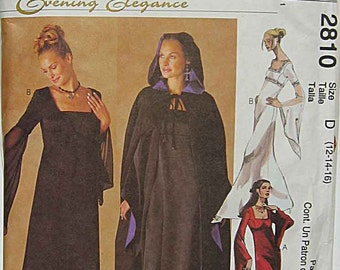Misses' Evening Gown and Lined Cape, McCall's 2810 Sewing Pattern UNCUT Sizes 12, 14, 16