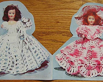 Vintage Crochet Doll Clothes Pattern The California Bride and Bridesmaid 1950's