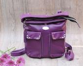 Violet / Purple Italian Leather Backpack. Backpack & Crossbody Bag. Handmade Zipper Handbag. Village Convertible Backpack.FREE SHIPPING