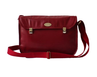Wine Color Leather Messenger. Dark Red Satchel. Crossbody Bag. Woman Briefcase. Miss Betty Satchel Bag.