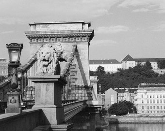 Fine Art Black & White Architecture Photography of the Chain Bridge in Budapest Hungary
