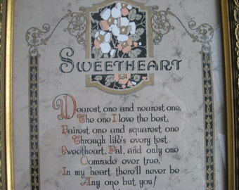 Sweetheart Poem / Framed Sweetheart Poem / Vintage Lettering and Artwork / Framed Poem / Vintage Picture-Wall Hanging