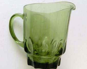Hazel Atlas Glass Green Thumbprint Pitcher ATC7 Vintage