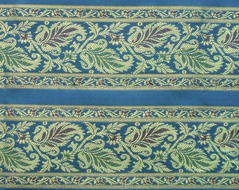 blue brocade fabric - br044 - 1 yard